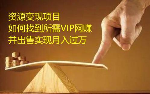 资源变现项目,如何找到所需VIP网赚资源并出售实现月入万  第1张